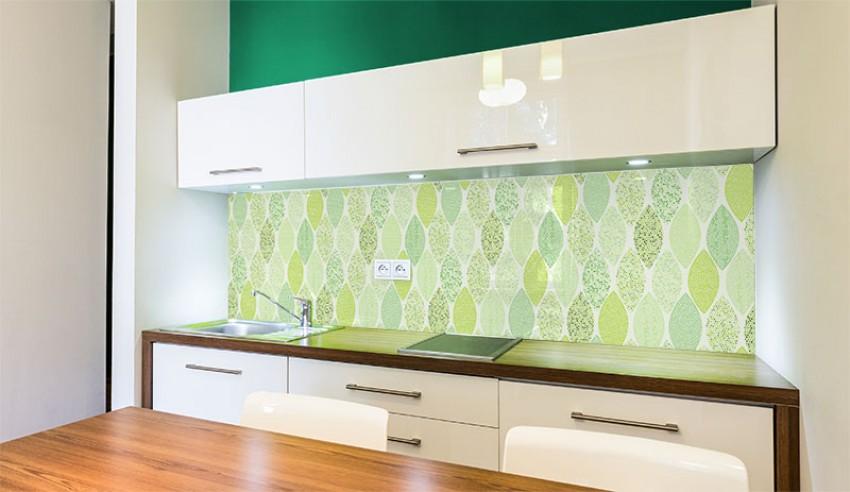 Panel szklany ze wzorem abstrakcyjnych liści