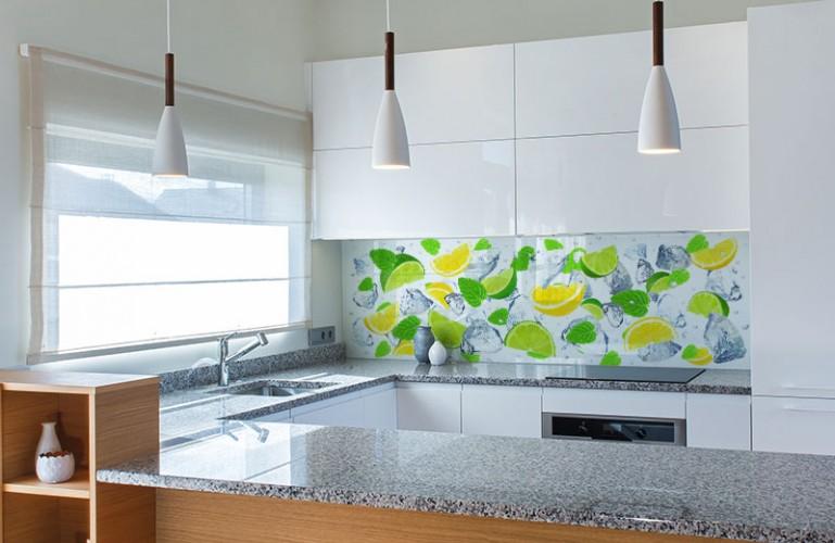 Panel szklany do kuchni z cytrynami i limonkami