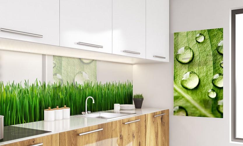 Panel szklany z trawą do kuchni