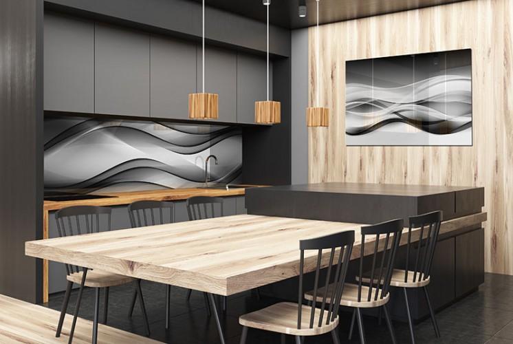Panel szklany z czarno-biała falą do kuchni