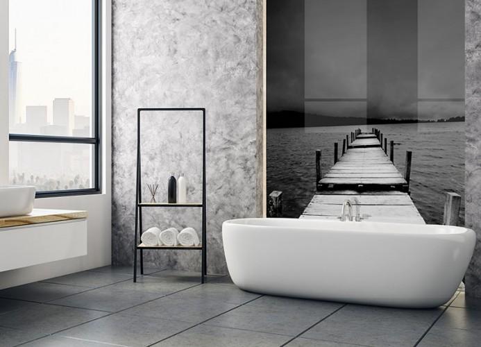 Panel szklany z czarno-białym molo do łazienki