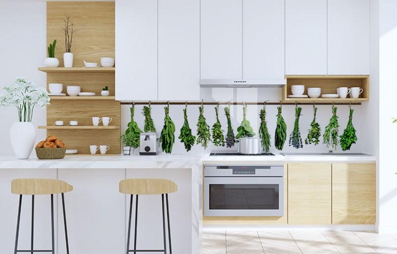 Panel szklany ze świeżymi ziołami