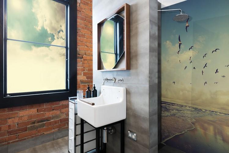 Panel szklany do łazienki - Krajobraz morski z mewami, styl vintage, retro