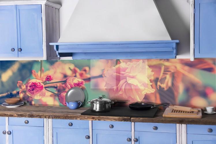 Panel szklany w stylu vintage, w modnych odcieniach różu - Kwitnąca wiśnia