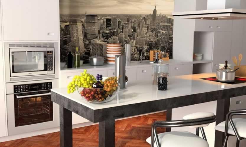 Panel szklany z wieżowcami w Nowym Yorku