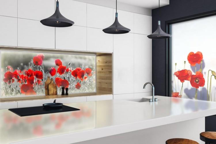 Panel szklany podświetlany LED do kuchni - Czerwone maki