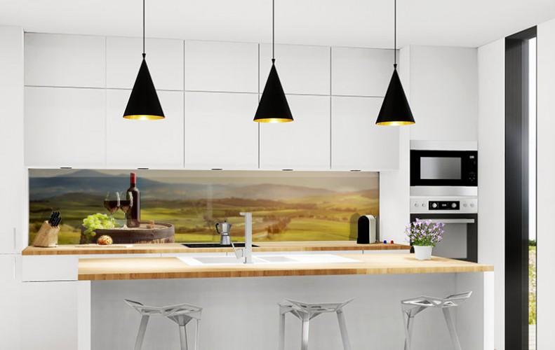 Panel szklany z winem i krajobrazem Toskanii