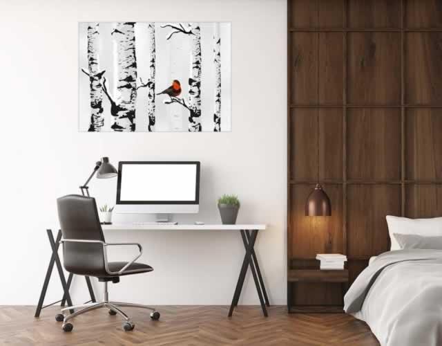 Plakat z brzozami i siedzącym na gałęzi ptaszkiem