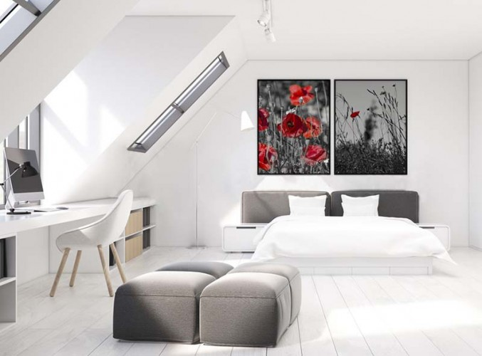 Plakat czarno - biały z czerwonymi makami