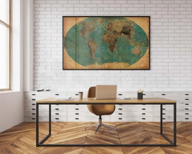 Plakat do biura - Stara mapa świata