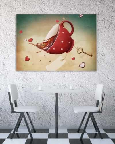 Plakat do herbaciarnii z fantazyjną filiżanką