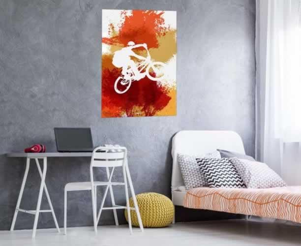 Plakat do pokoju chłopca z rowerzystą BMX