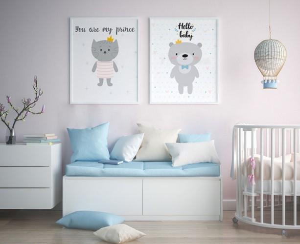 Plakat z misiem w koronie do pokoju dziecka.