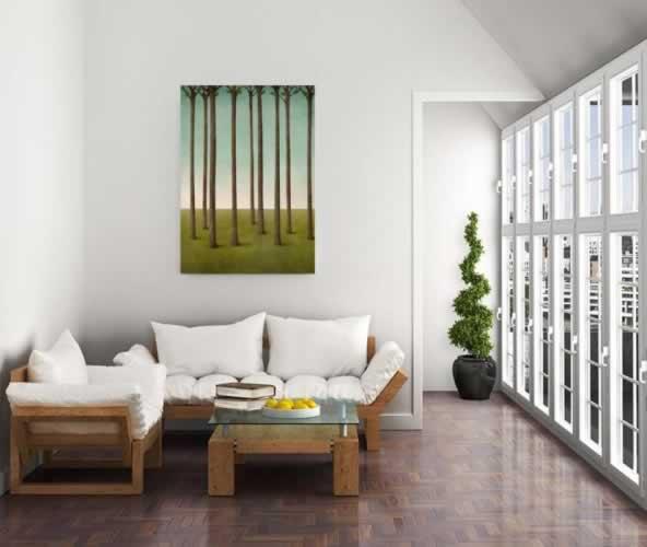 Plakat do salonu z drzewkami