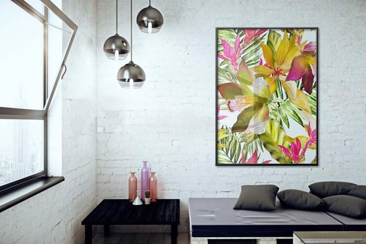 Plakat z kwiatami egzotycznymi do wnętrza industrialnego