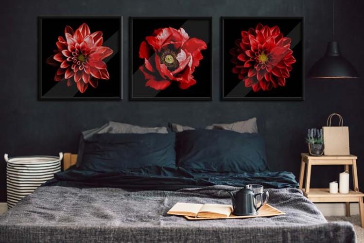 Plakat z czerwonym kwiatem do sypialni