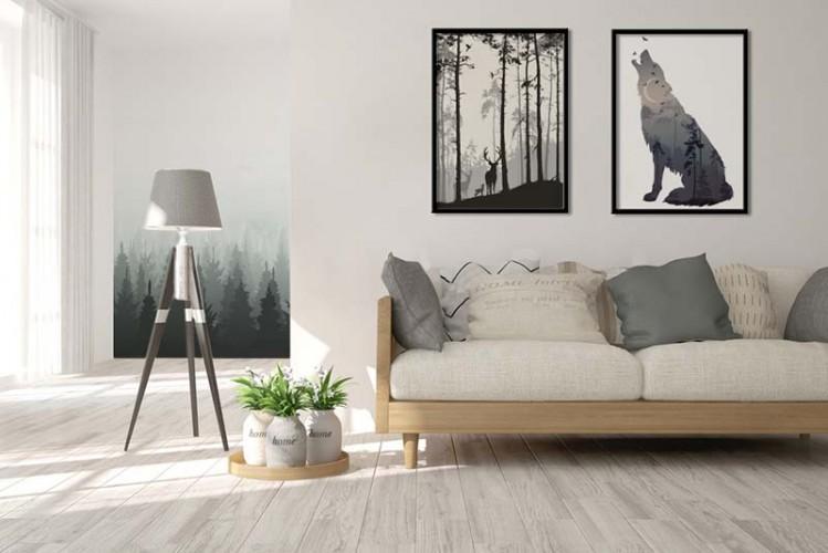 Plakat z leśnym krajobrazem do salonu