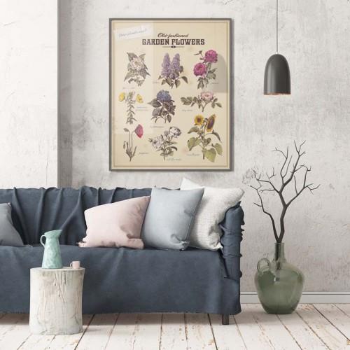 Plakat z kwiatami ogrodowymi.