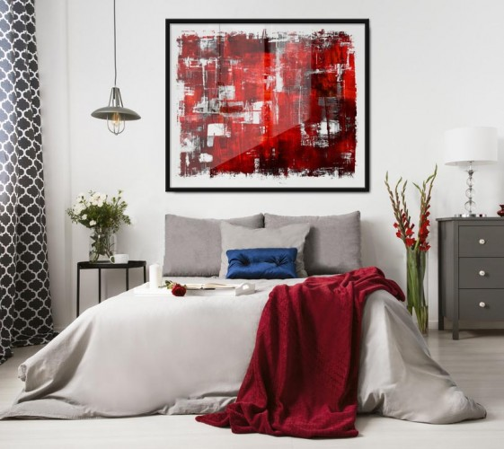 Plakat z czerwono-białą abstrakcją