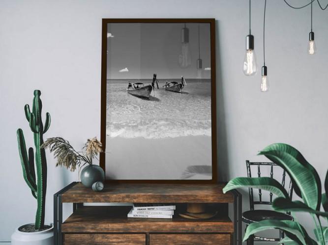 Plakat czarno-biały - Krajobraz tropikalny, morze