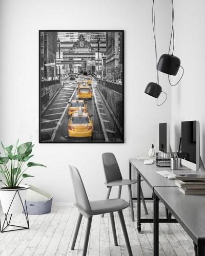 Plakat czarno-biały z żółtymi akcentami - Żółte taksówki