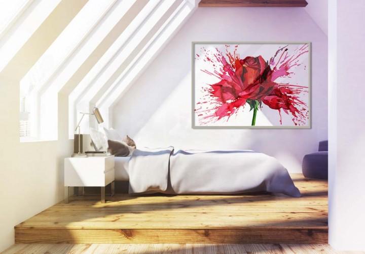 Plakat z różą oprawiony w ramę