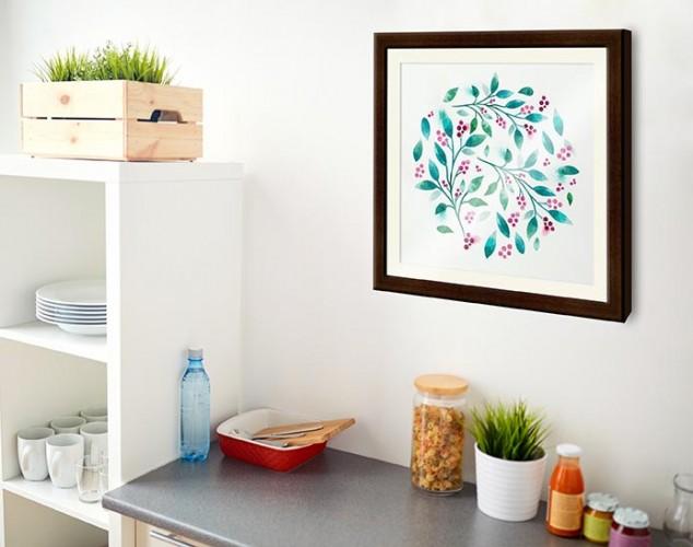 Plakat z motywem florystycznym oprawiony w passe-partout i brązową ramę