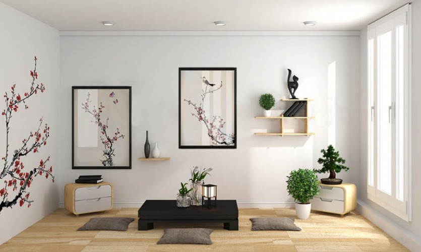 Plakat w stylu japońskim - kwitnące drzewo i ptak