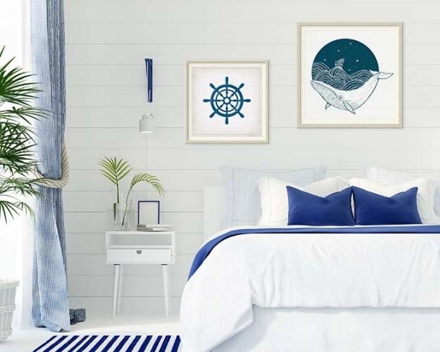 Plakat w stylu marynistycznym z wielorybem, oprawiony w passe-partout i srebrną ramę