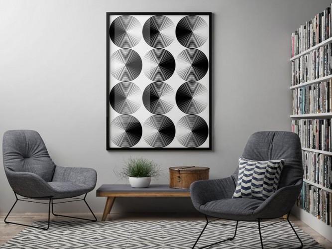 Plakat z geometryczną iluzją dp wnętrza minimalistycznego