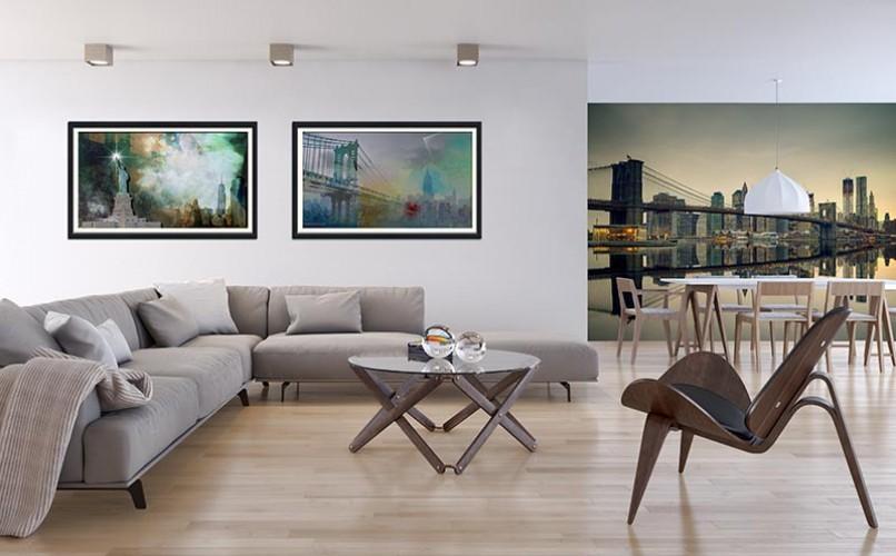 Plakat z Manhattan Bridge oprawiony w passe-partout i ramę - styl współczesny