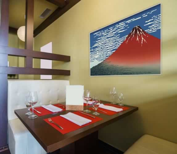 Plakat do sushi baru z motywem góry Fuji