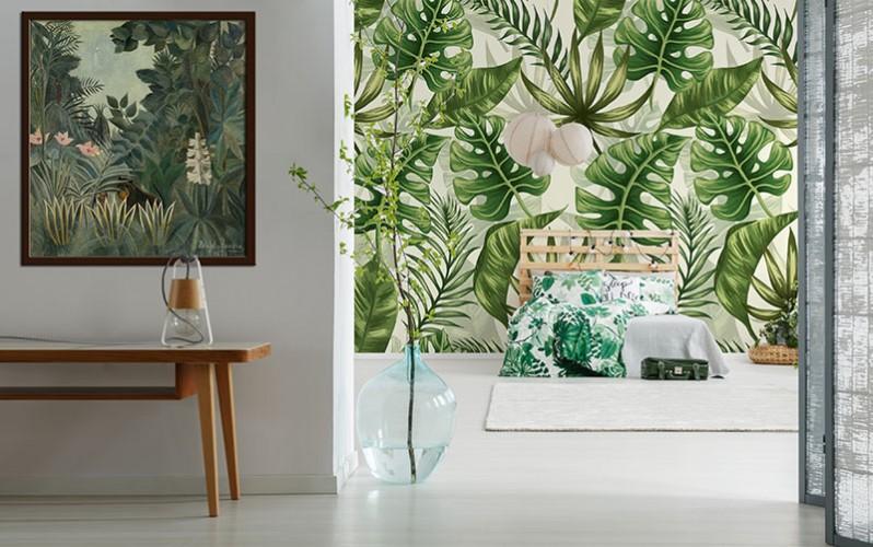 Fototapeta ze wzorem egzotycznych liści do sypialni