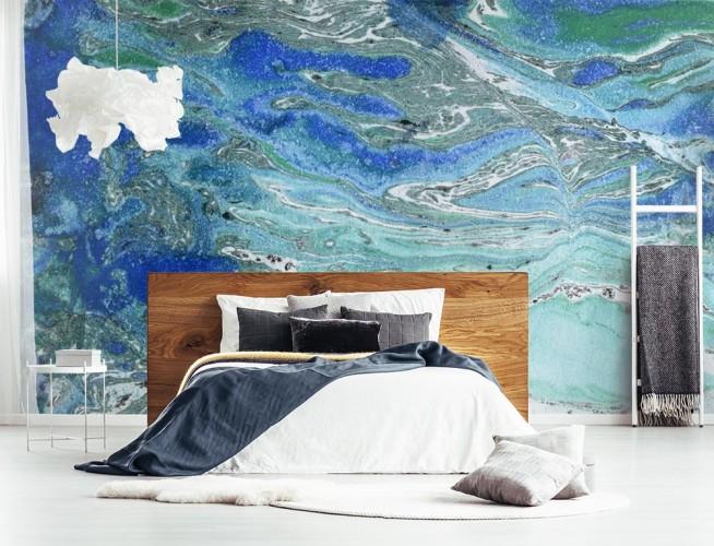 Fototapeta do sypialni z abstrakcją w kolorze kobaltowym