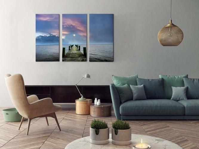 Obraz tryptyk z motywem molo do salonu