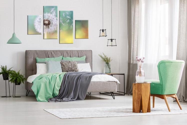 Obraz wieloczęściowy z dmuchawcem do sypialni
