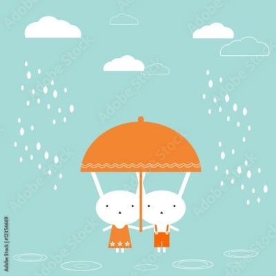Obraz Two bunnies under umbrella