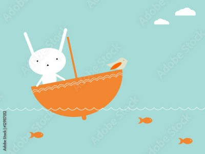 Obraz Cute bunny sailing over the sea in umbrella