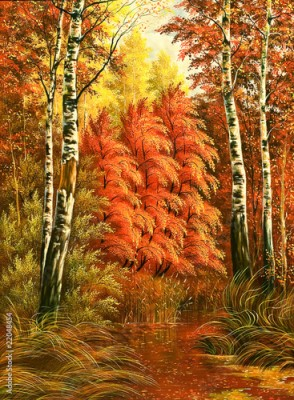 Obraz Autumn wood landscape with birches