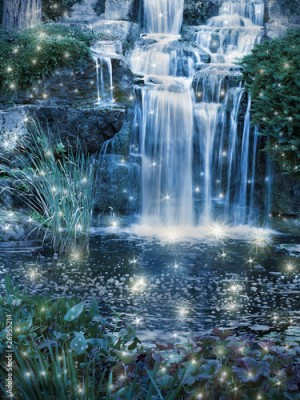Fototapeta Magic night waterfall scene
