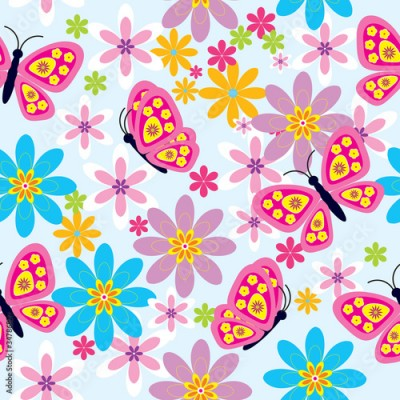 Fototapeta Flowers and butterfly ( seamless pattern)