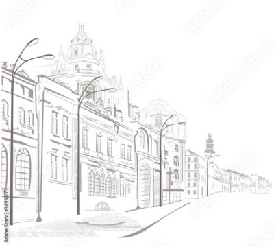 Obraz na płótnie Series of sketches of old cities streets