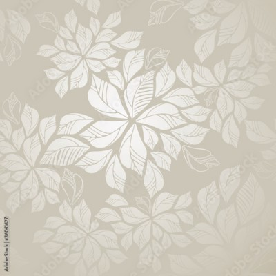 Panel Szklany Seamless silver leaves wallpaper