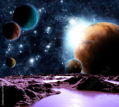 Fototapeta Abstract image of a planet with water. Find new sources and tech