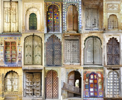 Fototapeta Collage of the ancient Indian doors
