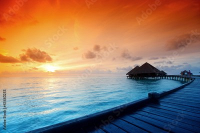 Obraz maldivian houses on sunrise