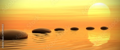Obraz Zen path of stones on sunset in widescreen