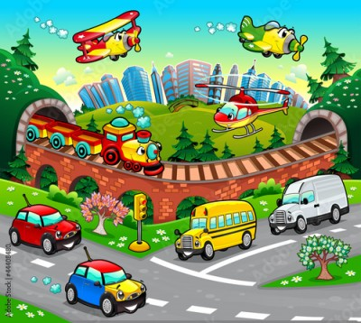 Fototapeta Funny vehicles in the city. Cartoon and vector illustration.