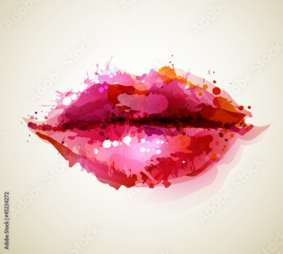 Fototapeta Beautiful womans lips formed by abstract blots