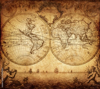 Obraz na Plexi vintage map of the world 1733